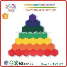 Bloques de madera y polígono de panal de madera para niños formas geométricas de juguete