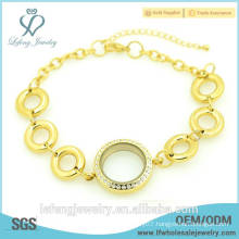 New design jewelry beautiful 316L stainless steel 24k gold plated locket bracelet