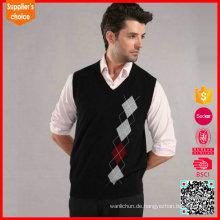 Klassischer Art Pullover langer Hülse V Ansatz Mens argyle Strickjacke