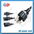 3 Prong IEC320 C13 a NEMA5-15P UL Cable de cable de alimentación de CA estándar