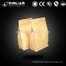 Flat bottom/Eight side sealed Tea packaging bag with zipper top