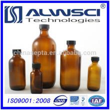 500ml pharmaceutical storage amber boston round glass bottle