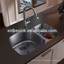 Évier de cuisine Undermount en acier inoxydable avec double vasque, évier Ameircan 60/40 avec cUPC