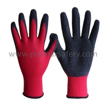 13G Red Polyester Liner Black Latex Crinkle Palm Dipping Glove