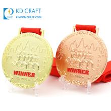 Medal maker online custom metal medallions gold copper plated logo 3d marathon running race sports medal for winner