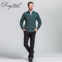 Suéter de la rebeca de los hombres al por mayor, cremalleras Emeral suéter verde del mejor proveedor de China