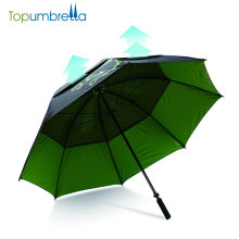 Windproof manual open golf umbrella in green color
