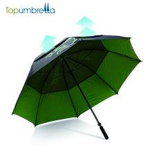 Windproof manual open golf umbrella in green color