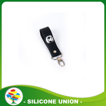 Black Silk Screen Print White Silicone Keychain