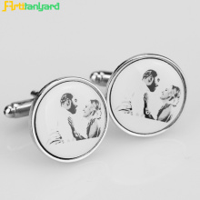 Print Logo Metal Cufflink For Men