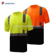 Oi Viz Mens Ffluorescen Amarelo Laranja 2 Tom Tripulação Collar T-shirt de Trabalho Segurança Tee Com Fitas Reflexivas E No Peito de Bolso EN20471