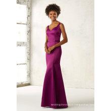 Robe de demoiselle d'honneur en satin violet