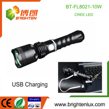 Factory Wholesale Multi-functional 1*18650 battery Powered Metal High lumen Strong Light 10Watt led usb cree Light Flashlight