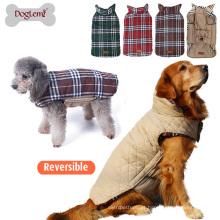 Casaco de inverno reversível cão casaco clássico verificado acolchoado grande roupa do animal de estimação
