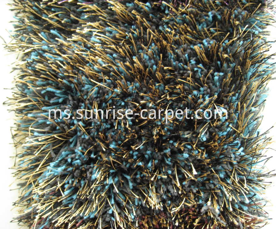 Elastic Soft & Thick Silk Mix Shaggy in Blue color Rug