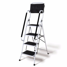 Folding 4-Step Safety Step Ladder - Padded Side Handrails - Attachable Tool Pouch Caddy