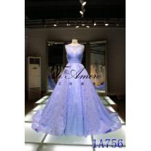 Panyu wedding dress 2016 China wholesale applique lace wedding dresses Panyu Sleeveless illusion Neckline Lace Wedding Gown Blue