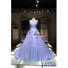 Panyu vestido de casamento 2016 China atacado applique rendas vestidos de casamento Panyu sem mangas ilusão decote vestido de casamento rendas azul