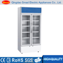 Transparent Glass Door Direct Cooling Upright Soft Drink Display Refrigerator Showcase