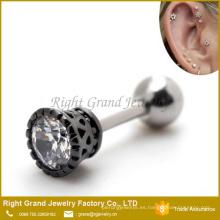 Cartucho de acero quirúrgico 16g Tragus adelante Helix Ear Studs pendientes joyería del cuerpo