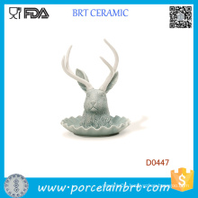 Matte Glacier Color Antelope Head Shape Ceramic Jewelry Holder