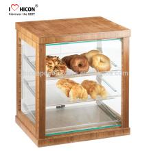 Mantenha a sua comida fresca e limpa Loja de varejo Vidro moderno Vitrina de acrílico Pão Panela Gabinete de exibição