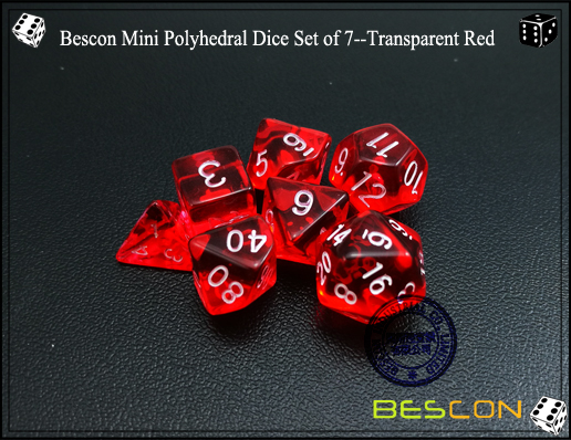 Bescon Mini Polyhedral Dice Set of 7--Transparent Red-4