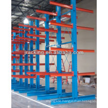 Jracking top selling heavy duty warehouse storage and powder coated double-armed cantilevered shelving system
