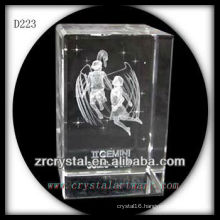 K9 3D Laser Subsurface Gemini Inside Crystal Rectangle
