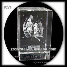 Gemini subsuperficial de laser K9 3D dentro de retângulo de cristal