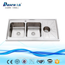 Table top double bowl 1.2m single drainboard kitchen wash trough sink with round waste bin