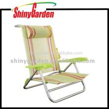 Chaise extérieure en aluminium de détente, chaise de plage avec l'oreiller