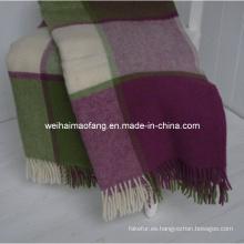 50% merino Wool/50%Acrylic Virgen Blend con flecos manta del tiro