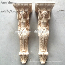 furniture parts wood capitals animal wood corbel woman carved wood corbels sexy girl corbel