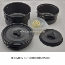 Fabrication 8pcs léger en plein air Camping Randonnée Cookware Backpacking Cuisine Picnic Bowl Pot Pan Set