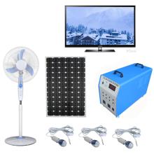 Sistema de energia home portátil solar original da fábrica 100W com séries dos fãs dos fãs das lâmpadas do diodo emissor de luz