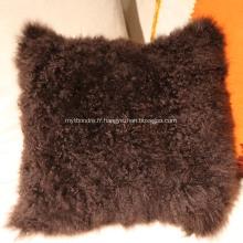 Vente chaude lambswool lambskin oreiller dernière moutons laine coussin