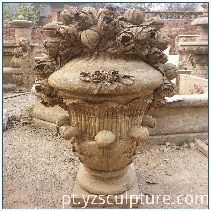 antique stone flowerpot