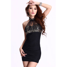 Sexiness Sequins Women`s Dress Dew shoulder Net yarn