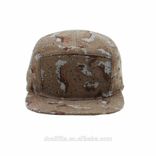 High quality 5 panel flat brim camo snapback cap / camp hat