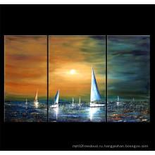 Современное искусство холст парусных лодок на пейзаж масляной живописи для декора (LA3-138)