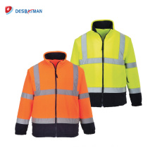Orange/Yellow High Visibility Two Tone Fluro Mens Work Reflective Tape Sweat Jacket Free Size Customize Logo Printing