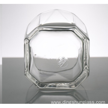 Small transparent glass cups