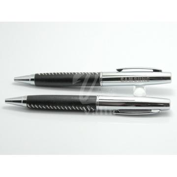 Ручка из высококачественной металлической шариковой ручки Рекламная кожаная ручка