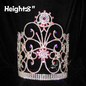 Unique Crystal Pageant Queen Crowns With Purple Diamonds