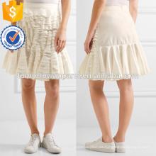 El último diseño 2019 del algodón blanco acodó la mini falda del verano de la manufactura de la fabricación de la falda al por mayor de las mujeres ropa (TA0037S)