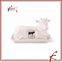 Forma de vaca decorativa de piedra de mantequilla plato de mantequilla con patrón de calcomanía