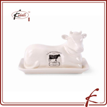 cow shape decorative stone ware butter dish with decal pattern