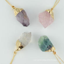 Wholesale Natural Amethyst Rose Quartz White Crystal Natural Stone Female Pendant DIY Jewelry Necklace Earrings Semi-Finished Pendant Products