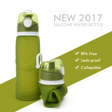 Portable collapsible silicone water bottle